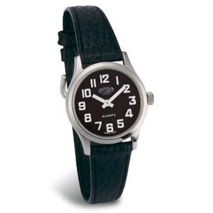 שעון עם רצועת עור, רקע שחור וספרות לבנות