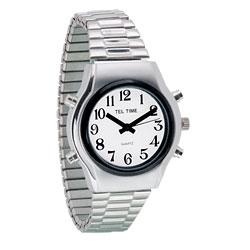 שעון דובר אנגלית לגבר עם רצועת מתכת