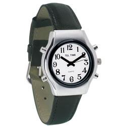 שעון דובר אנגלית לגבר עם רצועת עור