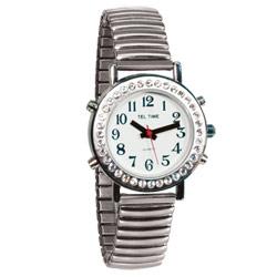 שעון דובר אנגלית לאשה משובצת עם רצועת מתכת