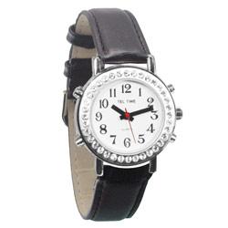 שעון דובר אנגלית לאשה משובצת עם רצועת עור