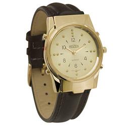 שעון יד ברייל דובר לגבר זהב עם רצועת עור